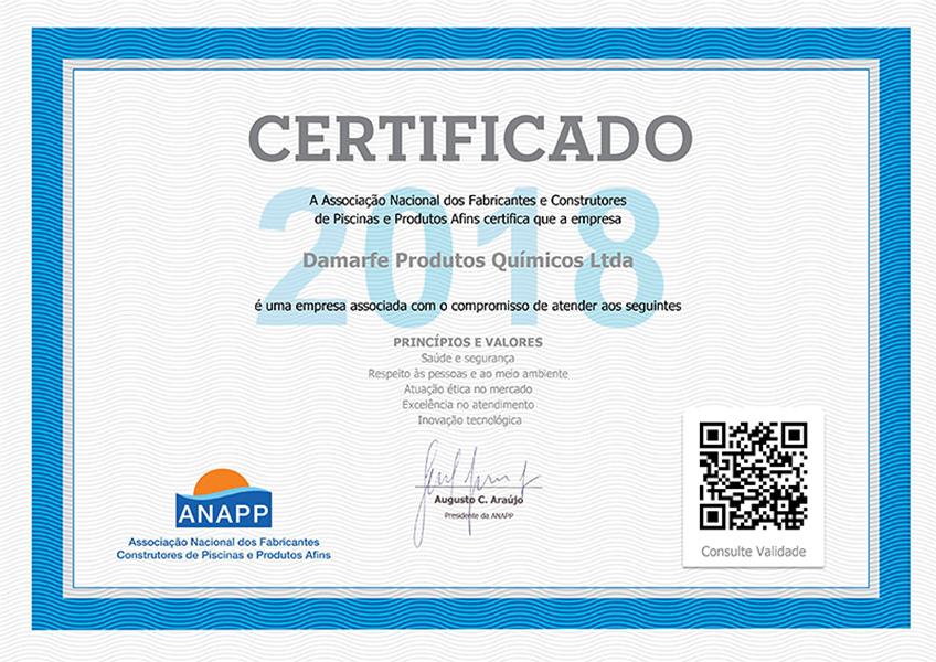 Certificado Anapp 2018 Damarfe